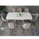Mobilier Deco Esstisch, ausziehbar, 6 – 8 Personen, Weiß lackiert, Füße aus Metall