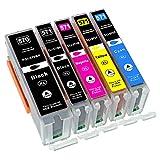 ESMOnline 5 komp. XL Druckerpatronen als Ersatz für Canon Pixma TS 5050 5051 5053 5055 6050 6051 6052 8050 8051 8052 8053 9050 9055