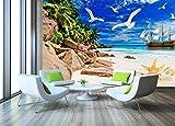 Segelboot Strand Seestück Steine Tapete 3D Vlies Tapete Wandbilder Wohnzimmer Schlafzimmer Wanddekoration Tapete Wanddekoration fototapete 3d Vlies wandbild Schlafzimmer-400cm×280cm