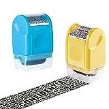 HahaGo 2PCS breite Rollenstempel, Schutz vor Identitätsdiebstahl Stempel Rollender Sicherheitsstempel Datenschutz, Schützen Sie Ihre ID Datenschutz Vertrauliche Daten (Hellblau + Gelb)