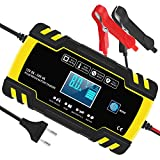 Yomao Ladegerät Autobatterie 8A 12V/24V KFZ Batterieladegerät Vollautomatisches Intelligentes Erhaltungsladegerät mit LCD-Touchscreen für Auto, Motorrad, Rasenmäher oder Boot