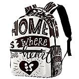 Rucksack Damen Daypack Schulrucksack mit,Uni Büro Freizeit Arbeit Schule Zuhause ist dort, wo das Herz ist