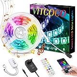 LED Streifen 5M VITCOCO Bluetooth LED Strip Kit RGB 5050SMD 150 LEDs Farbwechsel selbstklebend LED Lichtleiste Sync mit Musik, mit 24 Tasten Fernbedienung +12V Netzteil für Haus, Party Dekoration