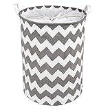 LEADSTAR Wäschekorb mit Kordelzugverschluss,Faltbarer Aufbewahrungskorb Kinderzimmer zur Lagerung Kleidung Spielzeug in Schlafzimmer Wäscherei (Grau Welle)