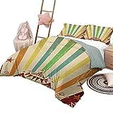 Vintage Rainbow Hotel Luxus Bettgarnituren Old Circus Carnival Werbung Thema Streifen Sterne und Fun Fair Zelt Jungen Bettbezug Set Multicolor mit 2 Kissen Shams, Twin Size