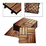 Hengda 5m² Holzfliesen Akazie Mosaik Terrassenfliese 30x30 cm Fliese Stecksystem Mosaik Zuschneidbar Terrasse Balkon FSC®