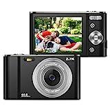 ZORNIK 2.7K Digitalkamera,Kamera Digital 2,88-Zoll-LCD-Akku HD 44 Megapixel 16-facher Digitalzoom, Studenten für Erwachsene/Senioren/Kinder (Black)