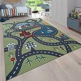 Paco Home Kinder-Teppich Für Kinderzimmer, Spiel-Teppich Mit Straßen-Motiv, In Grün, Grösse:80x150 cm