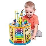 Elover Aktivitätswürfel Holz 8 in 1 Motorikwürfel Perlen-Labyrinth Holz Spielcenter Kleinkinder Spielzeug Mehrzweckspielzeug Geschenke fü