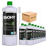 BiOHY Scheuermilch (12x1l Flasche) + Dosierer | entfernt eingebrannte Speisereste mühelos | gründliche Reinigung ohne zu kratzen | schonend zu Haut & Umwelt | für Emaille, Keramik & Edelstahl