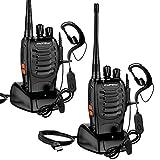 2X Walkie Talkies, Swonuk BF-888S Funkgerät Set 1500 mAh 16 Kanäle 3-5 km Reichweite Wiederaufladbarer Funkempfang, mit wiederaufladbarer Taschenlampe und tragbarem Doppelkopfhörer
