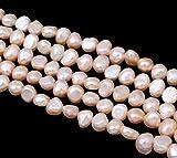 Perlin - Süßwasserperlen Zuchtperlen 6mm Apricot Reiskorn Natur Barock Edelstein Perlen Schmuckperlen Schmuckstein Perle Zum Fädeln für DIY Kette Basteln Pearl Beads Gemstone D495