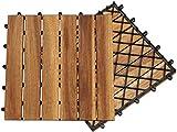 XZhstes Terrassenfliese Holzfliesen Akazie 1m², 30x30cm, Bodenbelag, Drainage, Garten klick-Fliese (Size : 5m²)