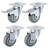 FIXKIT 4 Stück Transportrollen 50MM Lenkrollen mit Bremse für Möbel auf Parkett, Laminat oder F