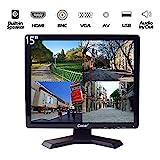 15-Zoll Profi CCTV-Monitor VGA HDMI AV BNC, 4:3 HD-Display (LED-Hintergrundlicht) 1024x768 Pixel LCD-Sicherheitsbildschirm mit USB-Laufwerksplayer für Heim- / Shop-Überwachungskamera STB PC usw