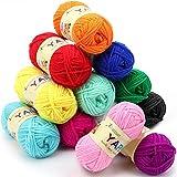 Wolle Häkelgarn 300g(25g*12 Farbe) Wolle Zum Stricken Acryl Wolle zum Häkeln Set Handstrickgarn Baumwollgarn Dicke Wolle für Häkeln