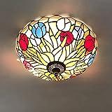 Tiffany LED Schlafzimmer Deckenleuchte Vintage, Antik Wohnzimmer Deckenlampe, Farbe Glas Lampenschirm, Küchenlampe Für Balkon Flur Badezimmer Flush Mount Dekorative Leuchten, Blumen Design E27(B,40CM)