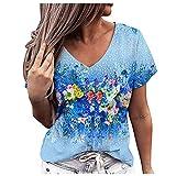 XUNN Damen Tops Mode Casual Blumendruck Kurzarm V-Ausschnitt Hemdbluse Loses Top T-Shirt Bluse Shirts Frauen Oberteil