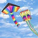 Funyole Drachen Flugdrachen 2 Pack, 4 M Großer Oktopus-Drachen und Regenbogen-Delta-Drachen mit Langem Bunten Schwanz für Kinder und Erwachsene Outdoor-Spiele-Aktivitäten, Strandausflug