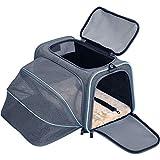 Petsfit Faltbarer Transporttasche Katze und Hund,Katzentransportbox Hundetragetasche erweiterbare Flugtasche Oxford Gewebe mit Schultergurt für Katze und Hund