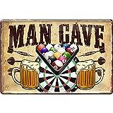 Lustiges Deko Blech-Schild Dart Dartspieler Pub Kneipe Bar Theke (20 x 30 cm, Man Cave - Dart, Billard & Bier 690)