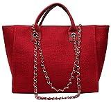 YPuzro Taschen Damen Canvas Elegant Große Handtasche Europäische Stil Schultertaschen Umhängetasche Shopper Tasche Henkeltasche Beuteltasche Weich Damentasche Schwarz (Rot)