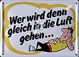 empireposter HB Männchen Zigaretten - Wer wird denn gleich in die Luft gehen - Nostalgie Werbung Blechschild 11x8 cm