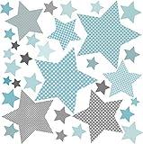 Wandaufkleber Kinder Wandtattoo Baby Sterne Wand Sterne Grau Blau (Sterne Grau Blau) greenluup Öko Wandsticker Kinderzimmer Babyzimmer Deko W