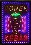 Döner Kebab-LED-Schild, Mops, hell und professionell, hochwertiges Produkt, leistungsstark, blinkend, Kette zum Aufhängen, Größe: 60 cm x 38 cm x 2 cm