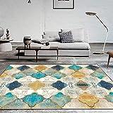 TINE Geometrischer Teppich Modernes Wohnzimmer Schlafzimmer Teppich Hohe Qualität Teppich in Gelb Blau Weiß Chic Look Anti Rutsch Waschbar Kindermatte,60 * 90CM