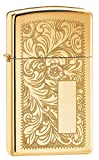 Zippo 60000812 Venetian Brass Slim Feuerzeug, Messing