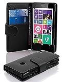 Cadorabo Hülle für Nokia Lumia 630/635 in Oxid SCHWARZ – Handyhülle aus Strukturiertem Kunstleder mit Standfunktion und Kartenfach – Case Cover Schutzhülle Etui Tasche Book Klapp Style