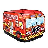 YSVSPRF Zelt für Kinder-Kind-Zelt Popup-Spiel-Zelt-Spielzeug im Freien Faltbare Spielhaus Fire Truck Police Car Game House Bus (Color : Fire Truck)