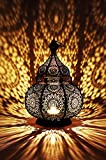 Orientalische Laterne Metall Lamis Schwarz 30cm | orientalisches Marokkanisches Windlicht Gartenwindlicht | Marokkanische Metalllaterne für draußen als Gartenlaterne, oder Innen als Tischlaterne