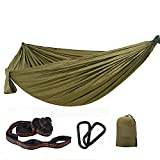 Hangematte Outdoor Camping,fur Outdoor Camping, Garten und Strand,aus Ripstop Nylon,150 kg tragkraft(275X140cm/300 X200cm),Army Green-275X140