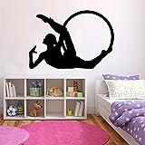 Boezhl Gymnastik Reifen Wandtattoos Fitness Übung Mädchen Schlafzimmer Fitnessstudio Innendekoration Vinyl Aufkleber Silhouette Wandbild 75x108cm