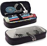 Kunstleder Federmäppchen Doppelbelichtung Pferd Zeichnung Bleistiftbeutel Reißverschluss Bleistift Kosmetik Make-up Tasche Tasche für die Schule Arbeit Büro