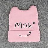 healthwen Baby Cartoon Strickmütze Milk Printed Letter Hat Bequeme Mütze rosa