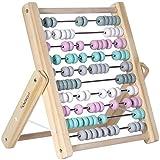 Kindsgut Abakus Rechenschieber aus Holz, zum Zählen und Rechnen bis 100, hochwertige Qualität, dezente Farben und Schlichtes Design, Rosa