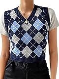 L&ieserram Pullunder Damen Strick V Ausschnitt Kariert Weste Mädchen Strickweste Kurz Ärmellos Preppy Style Argyle Karo Weste Herbst Strickpullover (A Blaues Karo, S)