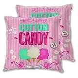 CONICIXI 2 Pack Kissenbezüge Zuckerwatte-Werbeplakat-Design Alter Blick süß und flauschig leckere Aromen Quadratische Kissenhüllen für das Wohnzimmer-Sofa, Schlafzimmer 45cm x 45cm