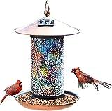 CRZJ Hängende Solar-Bird-Feeder, Retro-Vogel-Feeder, Solarbetriebenes Garten-Laterne-Vogelhaus mit Haken, wasserdicht, einzigartige Geschenke für Vogelliebhab