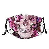 Lustige Totenkopf-Gesichtsmaske, wiederverwendbar, waschbar, für Damen und Herren, mit 2 Filtern