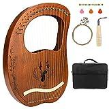 Lyre Harfe, CestMall Portable 19 Saiten Furnier Mahagoni Harfe mit Tragetasche/extra Saitenset/Stimmschlüssel/Reinigungstuch/Picks, graviertes Lyre-Musikinstrument für Musikliebhaber Anfänger