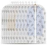 Refrze Mottensichere Kleidersäcke, 10 Stück, Kleidersäcke für Schrankaufbewahrung, transparente mit Reißverschluss, atmungsaktive Anzugtaschen Kleiderhüllen Katzendruck, 61 x 121,9 cm