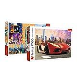 Trefl 10635 Duopack, Paket mit 2, 2x1000 Teile Rundfahrt bei Sonnenuntergang, mit Auto Neonstadt Puzzle