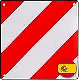 PLANGER®- Warntafe Spanien (50 x 50 cm) - Reflektierendes Warnschild rot weiß für Heckträger u Fahrradträger (Warntafel + Tasche)