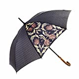 MARY SAM'S Umbrella, Stabiler ultraleichter Stockschirm mit Holzgriff für Damen und Herren, Auf-Automatik Regenschirm windfest sturmfest und wasserabweisend, Klassisch Schwarz Gold Grau B