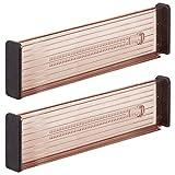 MDESIGN 2er-Set Verstellbarer Schubladeneinsatz – praktischer Schubladen Organizer für Küchenschränke – Flexibler Schubladenteiler aus Kunststoff – Sandfarben/schw