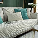 AIKES Europäischer Stil Sofabezug Sofa Handtuch Für Wohnzimmer Deko,Spitze Slip Resistant Sofaschoner,Thicke Plüsch Stoff Sofahusse-Reis weiß 70x120cm(28x47inch) 1pcs